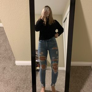 American eagle high waisted ripped jeans